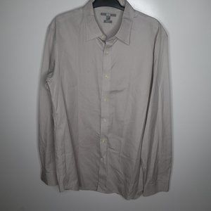 Uniqlo Grey Long Sleeve Slim Fit Button Up Shirt